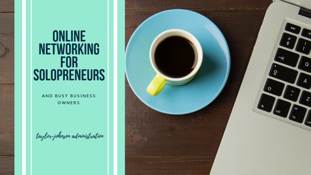 Online networking for solopreneurs in a teal box with wooden background, blue mug with espresso and imac off centre, keyboard showing