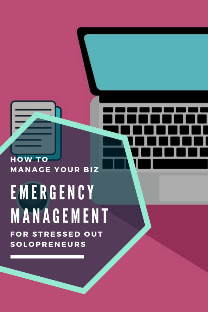how to manage your business - emergency management for stressed out solopreneurs pink background with open laptop and lots of notes
