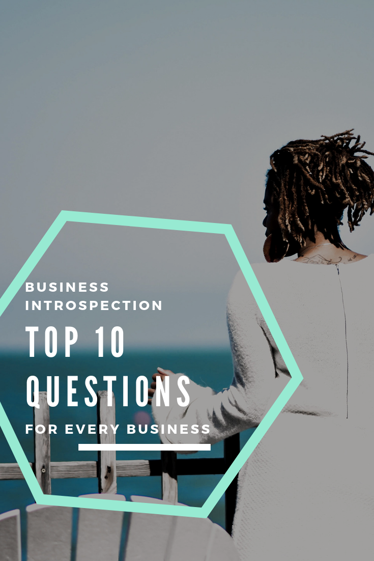 woman stands looking out to sea, seemingly reflective. overlay that says business introspection top 10 questions for every business.