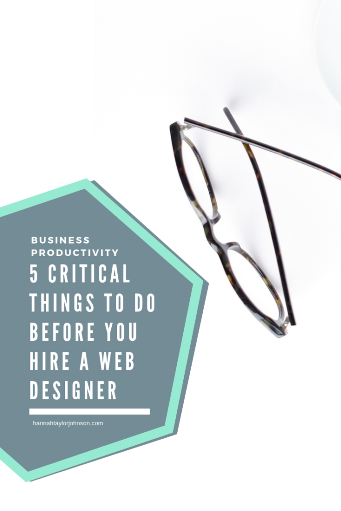 5 Critical Things To Do Before You Hire a Web Designer. White background with glasses and a keyboard laid out.