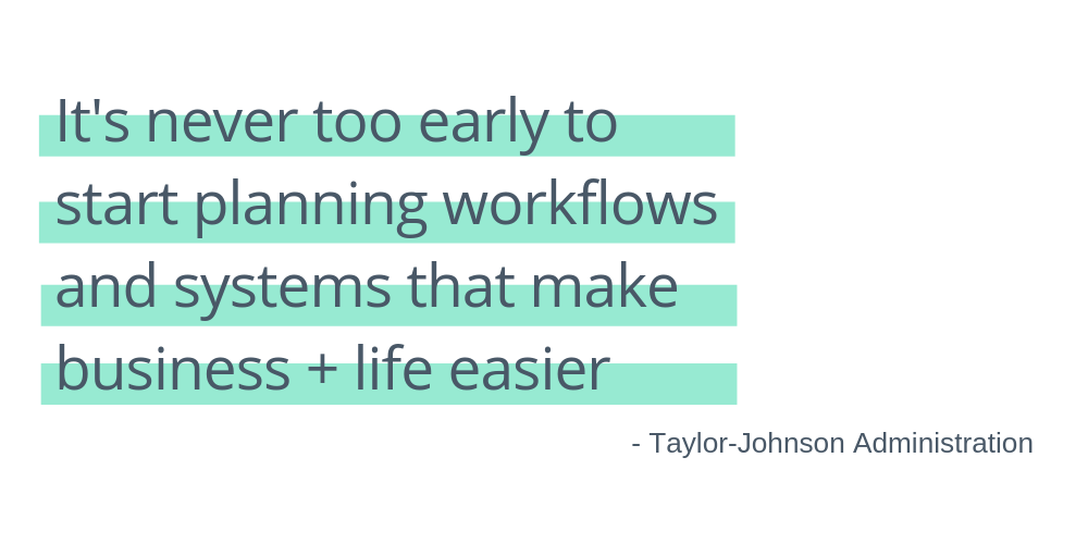 """collage of photos to support the blog post on taylor-johnson administration: Workflows + Systems Aren't The Scary Monster of the Solopreneur World (plus they're super effective when set up right). Quote says: """"it's never too early to start planning workflows and systems that make business + life easier"""""""