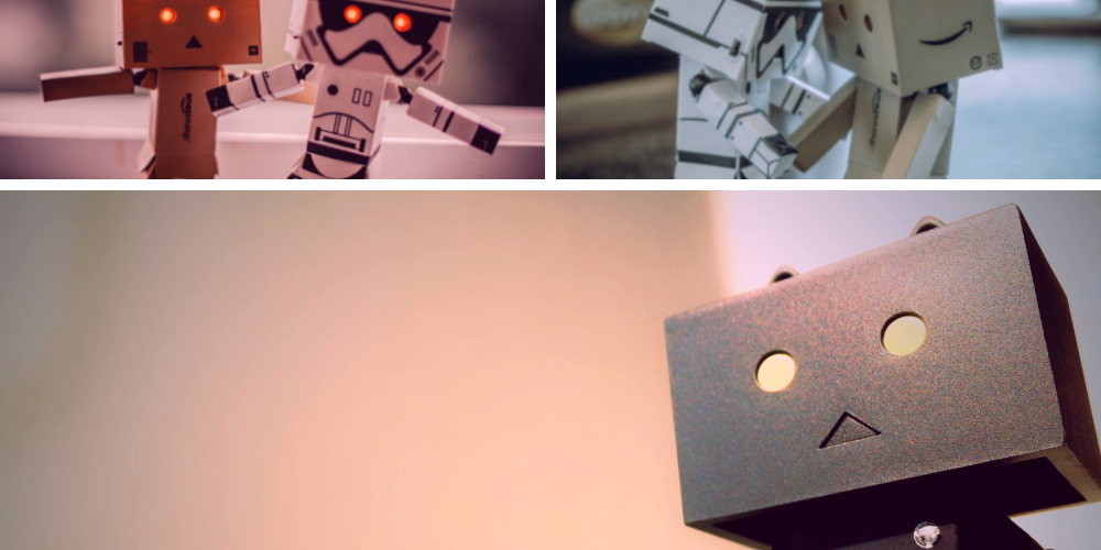 robot collage with robots interacting happily on a post about systems, automations and workflow setups