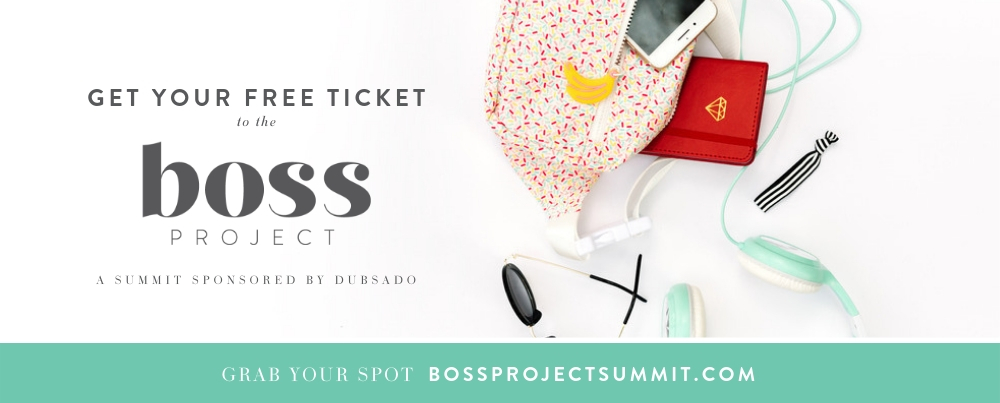 "white background with a bag spilling notebook, smartphone, sunglasses, hair tie and teal headphones.   Text overlay says: ""get your free ticket to the boss project a summit sponsored by dubsado. Grab your spot bossprojectsummit.com or http://bit.ly/HannahBossProjectSummit """