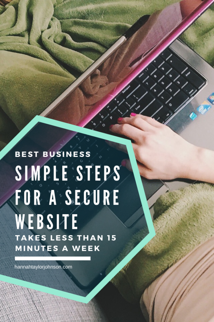 Woman under a green blanket, her hand resting on a purple laptop keyboard. Text overlay says: Best business simple steps for a secure website. Takes less than 15 minutes a week. hannahtaylorjohnson.com