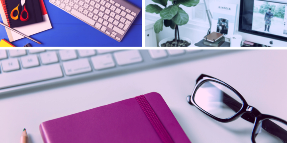 image shows a collage of images. A mac keyboard on a blue background, a mac computer in a white office, and a mac keyboard on a pinkish background with a purple notebook and a pair of glasses.